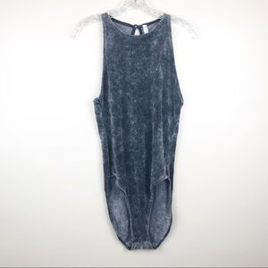 free people intimately French terry gray bodysuit